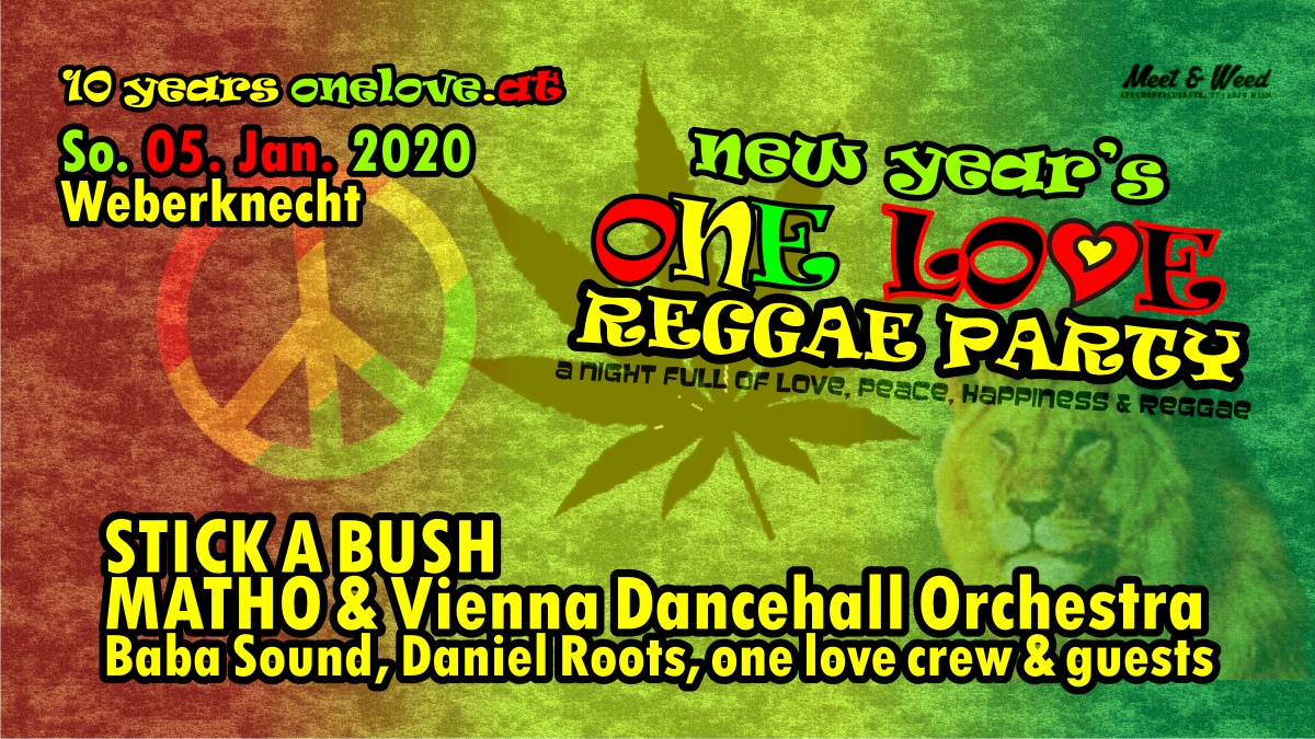 So 5.1.2020 ONE LOVE REGGAE PARTY ft. Stick A Bush + Matho & Vienna Dancehall Orchestra