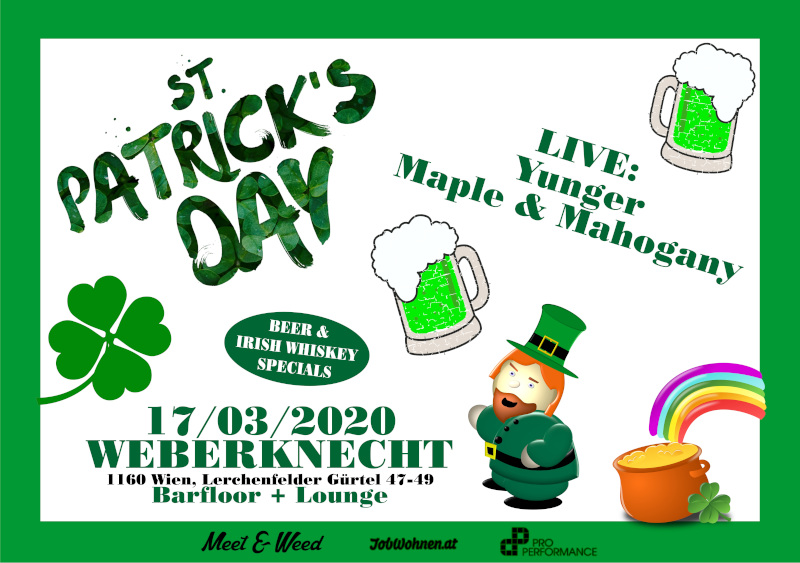 Di 17.3.2020 St. Patrick's Day Party • Live: Yunger, Maple & Mahogany